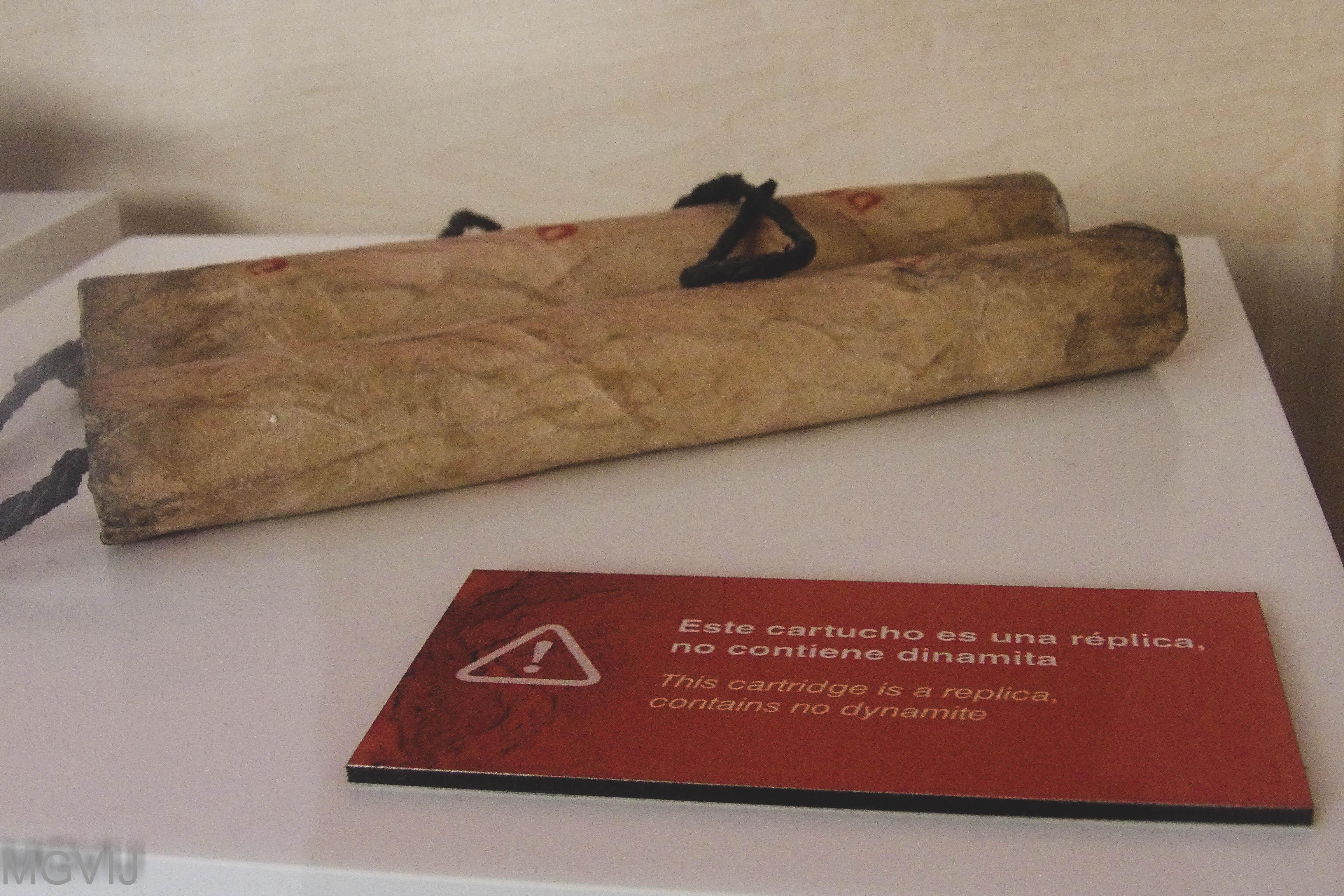 Dinamita expuesta en el centro de interpretación de Los hornos de la cal de La Calera
